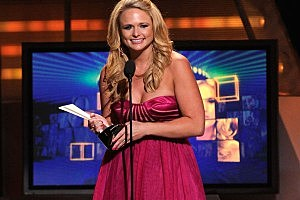 Singer Miranda Lambert accepts the award for Top Female Vocalist of the Year